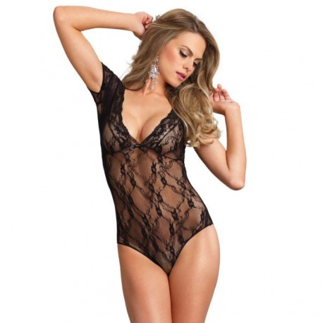 LEG AVENUE FLORAL LACE BACKLESS TEDDY NEGRO
