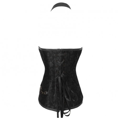 QUEEN CORSETS NEGRO LEATHER CON CREMALLERA SIZE XL