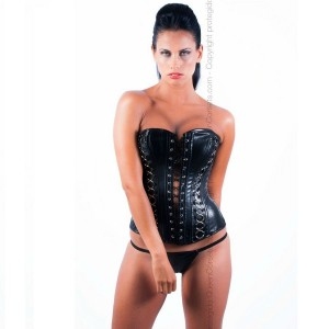 QUEEN CORSETS - ÓNIX LEATHER NEGRO SIZE XL